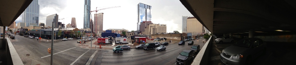 Panoramic facing 5th St from the Chase garage.